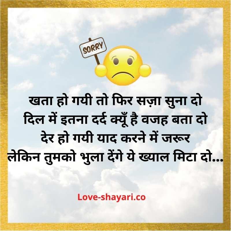 sorry love shayari